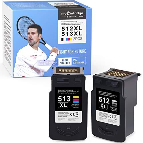 mycartridge SUPRINT Cartuchos remanufacturados compatibles para Canon PG-512XL PGI 512 XL 510 para Canon iP2700 iP2702 MP230 MP235 MP240 MP250 MP252 (negro/color)