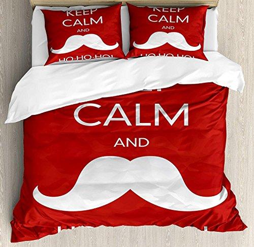LnimioAOX Juego de Funda nórdica Keep Calm 3 PCS, Ho Ho Ho con el icónico Santa Mustache Joyful Christmas Feliz Navidad, Juego de sábanas para niños/Adolescentes/Adultos/niños, Red Coconut Kin