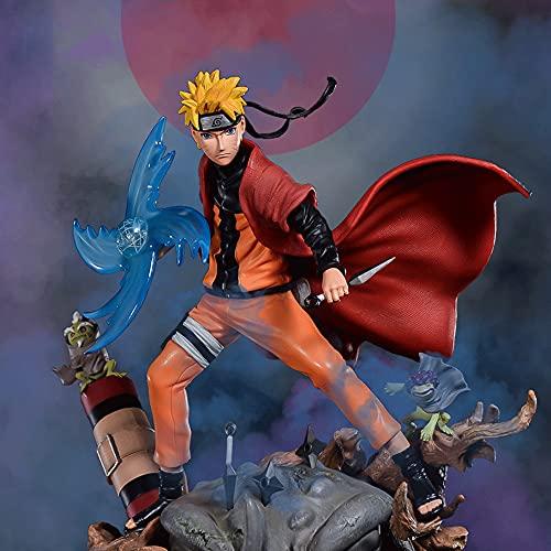 Figura de acción de Uzumaki Naruto, Kit de Garaje Naruto de 11 Pulgadas, Píldora en Espiral Ninjutsu Shuriken y Modelo Hold Kunai con Capa roja, De pie en la Postura de Lucha de la Estatua del Sapo