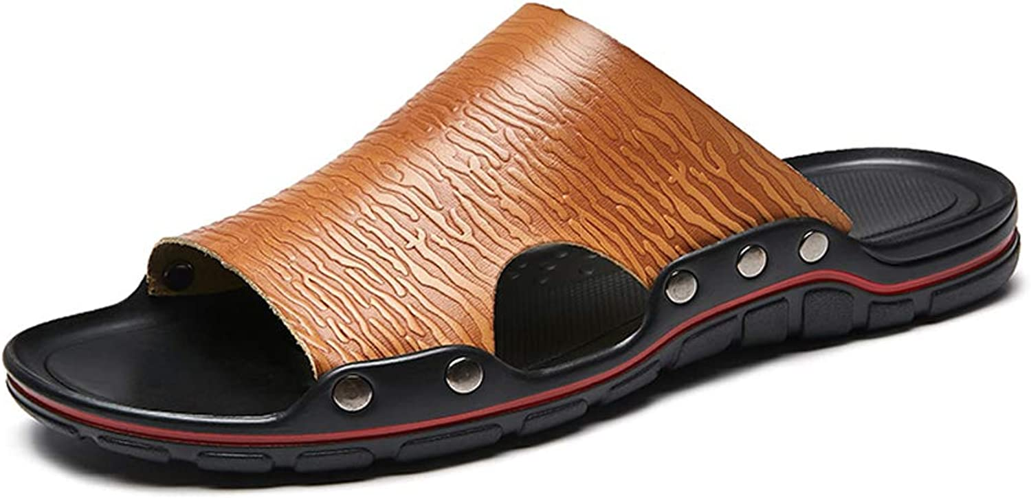 QAR Brown Summer Men's Slippers Fashion Non-slip Outdoor Breathable Slippers Casual Slippers flip flop (color   BROWN, Size   40)