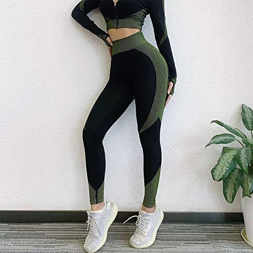 dihui Pantalones Mallas sin Costuras de Cintura Alta,Pantalones Deportivos Ajustados y Transpirables para Mujer, Entrenamiento Deportivo, Gimnasio, Legging-Green_L