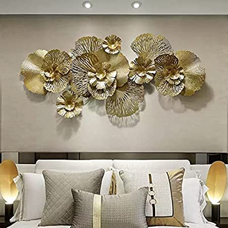 Zove™ Metal Wall Art Iron Wall Hanging Home Decoration Perfect for Living Room/Hotel/Restaurant/Bedroom/Drawing Room (Color : Golden) (Size: 52 x 24 INCH)