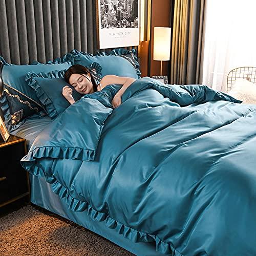 ropa de cama 135x190 3 piezas,Cama de seda de lavado de agua de verano Cuatro conjuntos de costillas del norte de las costillas de la seda de la piel anti-arrugas, un conjunto de la almohada de una s