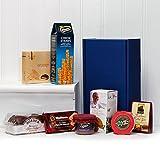 Aperitivos gourmet en caja de regalo de color azul - la idea del regalo para el cumpleaños, la Navidad, felicitaciones, darle las gracias