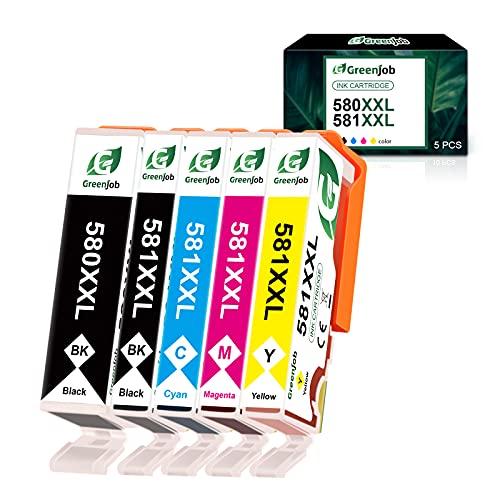 Greenjob PGI-580XXL - Cartuchos de tinta para Canon 580 581 (5 unidades, compatibles con Canon Pixma TR8550, TS6250, TS6150, TS9550, TR7550, TS8250, TR8500, TS6151, TS8251, TS8150 y TS6251) TR7500. .