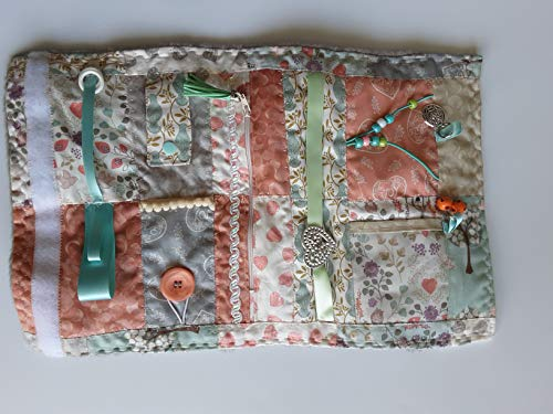 Convertible grey/peach floral and dove sensory/fidget quilt/muff for dementia sufferers