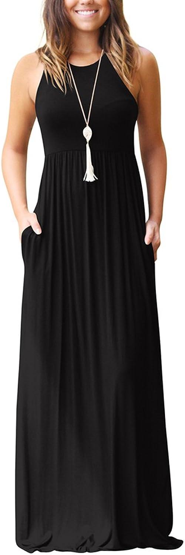 Aro Lora Women's Casual Sleeveless O Neck Ruffle Tank Long Maxi Dress with Pockets
