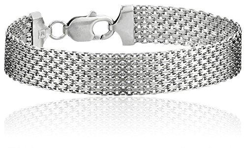 amazon collection inspired silver bracelets Sterling Silver 12mm Italian Mesh Bracelet