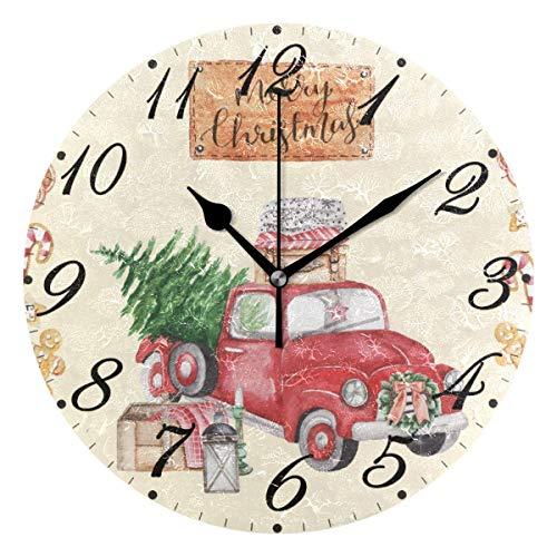 FETEAM Merry Christmas Red Truck Reloj de Pared silencioso sin tictac, Invierno Relojes de árbol de Navidad con Pilas Reloj de Escritorio Vintage de 10 Pulgadas de Cuarzo