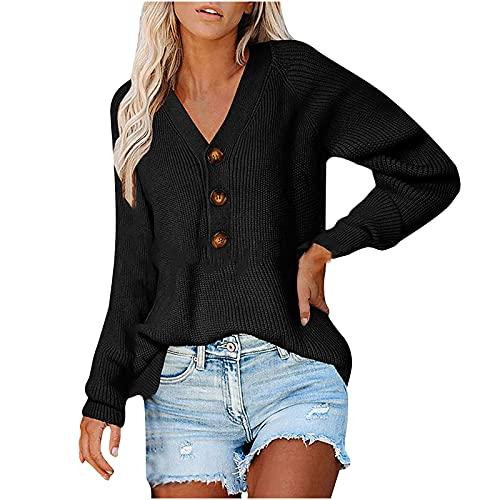 WANGTIANXUE Jersey de mujer con cuello en V, jersey de invierno para mujer, cuello con botones, jersey de manga larga con botones para adolescentes y nias, Negro , XXL