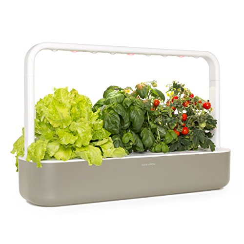Click and Grow Smart Garden 9 Indoor Gardening Kit (Includes 3 Mini Tomato, 3 Basil and 3 Green Lettuce Plant pods), Beige