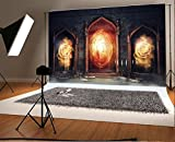 Laeacco Backdrop 7x5ft Vinyl Photography Background Dark Chamber with Magic Mirrors Books and Scrolls Backdrop Candle Spooky Night Castle Arch Door Flame Backdrop Photo Portrait Shoot Video Prop