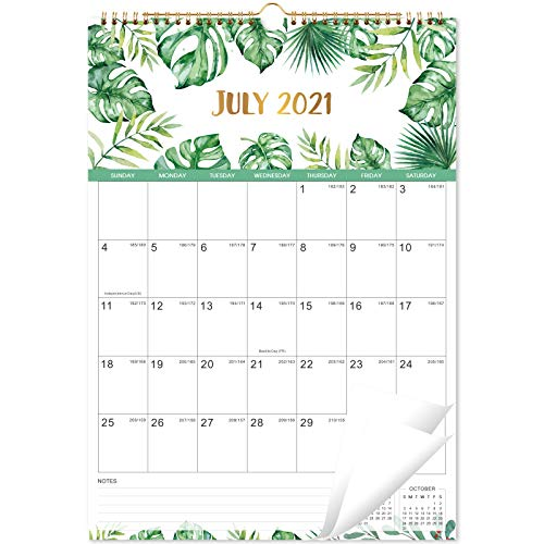 Calendario 2021-2022 – Calendario mensual de pared con papel grueso, 43,8 x 30,8 cm, enero de 2021 a junio de 2022, bloques grandes con fechas julianas, encuadernación de doble alambre, ⭐