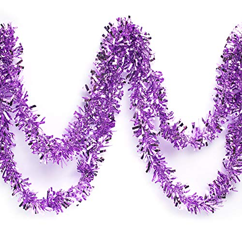 Anderson's Metallic Tinsel Twist Garland, Lavender - 4 inches Wide x 25 feet Long