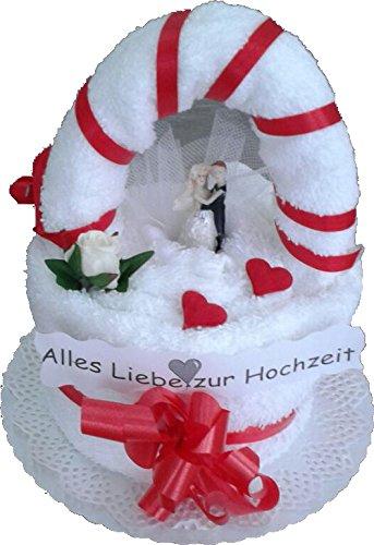 Frotteebox Geschenk Set Brautpaar auf Torte in Handarbeit geformt aus 2X Gästetuch (50x30cm) und 1x Gästetuch (30x30cm) weiß