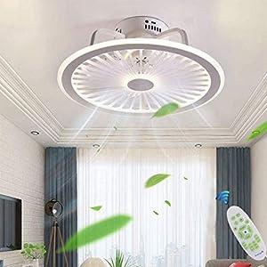 Ventilatore A Soffitto Moderno Plafoniera LED Con Luce E Telecomando Silenzioso Ventilatori Dimmerabile Plafoniere Lampadario Camera Da Letto Soggiorno Illuminazione Invisibile Fan Lampadario,Bianca