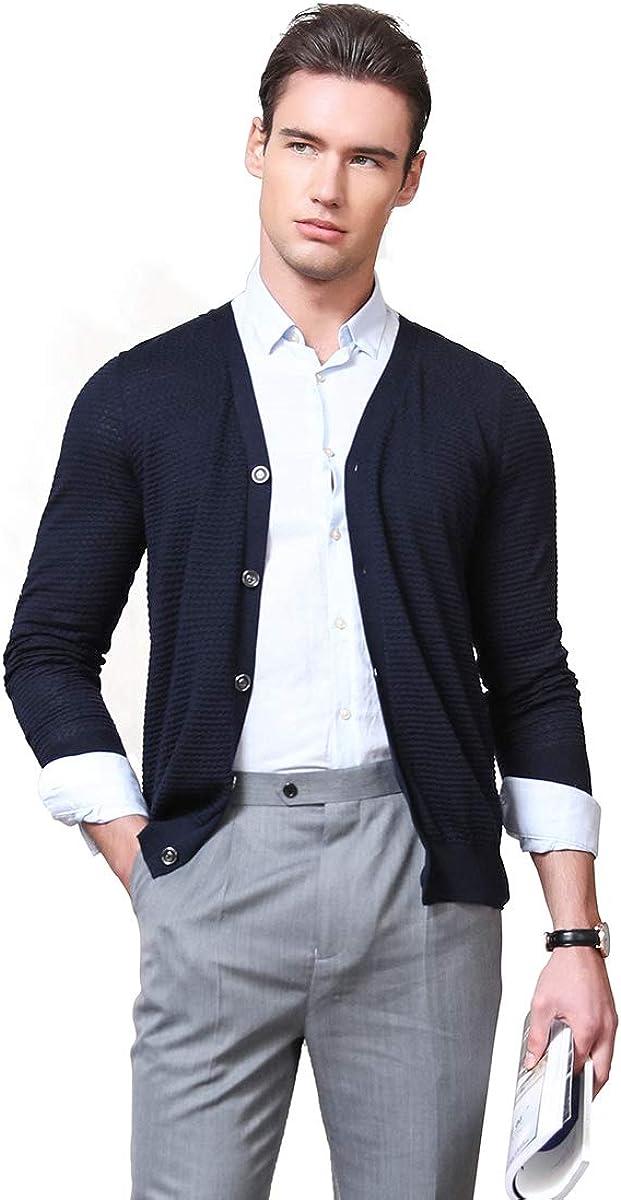 zhili Mens Pure Color Button Down Knit Cardigan