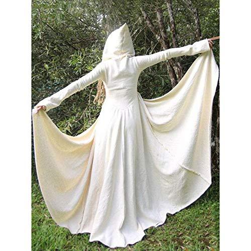 Vestido Medieval para Mujer, Adulto,Mujer Falda Vestido Medieval,Vestido Medieval Vintage, Disfraz de Halloween de Manga Larga-Blanco_M
