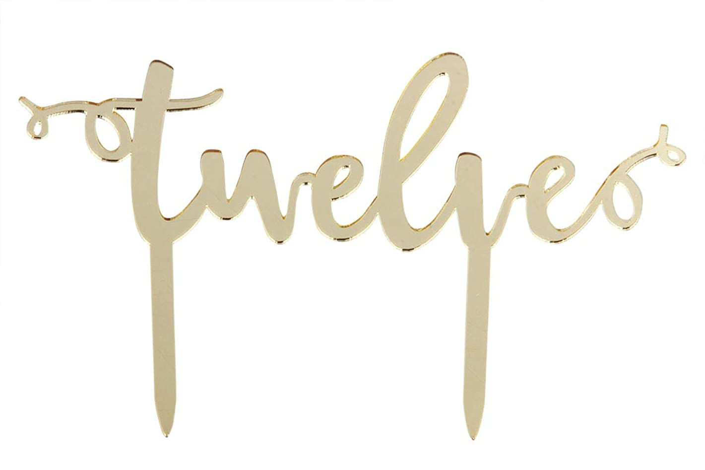 Mirror Gold Twelve Cake Topper -Happy 12th Birthday or 12th Anniversary Cake Topper Acrylic Party Decoration Supplies