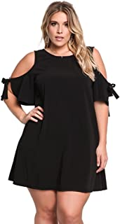 ROSIANNA Round Neck A Line Plus Size Mini Short Back Hole Dresses with Cold Shoulder Bow Tie in Sleeve