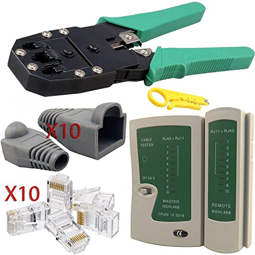 Maletín con crimpadora, para RJ11 y RJ45, pelador, tester, herramienta de inserción,...