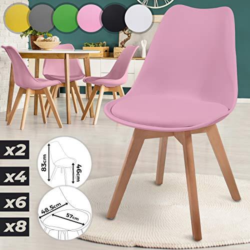 MIADOMODO Esszimmerstühle 2er 4er 6er 8er Set - im Skandinavischen Stil, gepolstert mit Sitzkissen, aus Kunststoff & Massivholz, Farbwahl - Vintage, Retro, Küchenstuhl, Stühle (4er, Rosa)