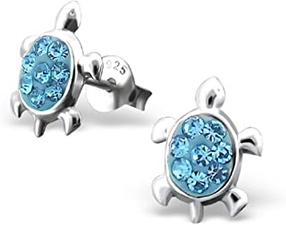 925 Sterling Silver Turtle w/ Aquamarine Crystals Stud Earrings 16296
