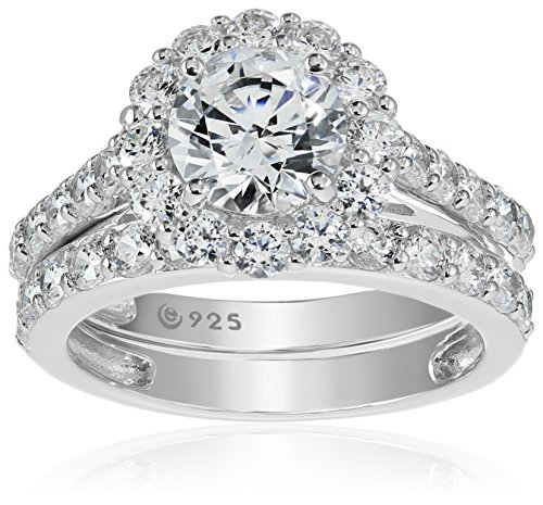 Platinum-Plated Sterling Silver Flower Halo Ring set with Swarovski Zirconia (2.9 cttw), Size 7