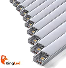 Pack ahorro 10 Perfil de aluminio 1707 1m plano para tiras Led con tapa blanca