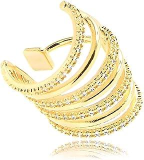 Piercing de pressão médio com design de argolas cravejadas de zircônia folheado em ouro 18k