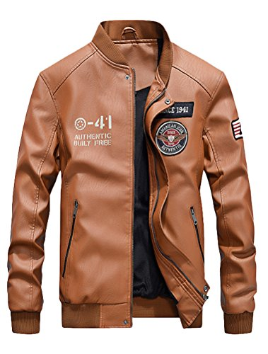 Mordenmiss Men's Basic Leather Letter Man Baseball Varsity Jacket Bomber Outwear Style 2 Khaki L