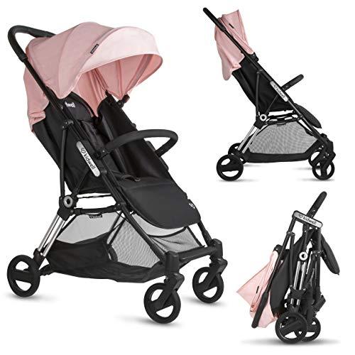KIDWELL FLASH Kinderwagen | 100 cm hoch | zusammenklappbar Buggy |mit Liegefunktion & Regenverdeck | leichte Konstruktion | mit 5-Punkt-Gurtsystem | Belastung bis 15 kg | ab 0 bis 3 Jahren | Rosa