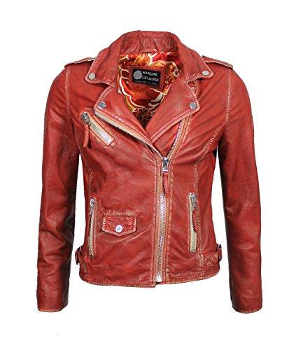 Marlon Leander Damen Lederjacke Biker Jacke Las Vegas Schwarz Echtleder Asymmetrischer Reißverschluss Gr. 34-54 (42, Rot)