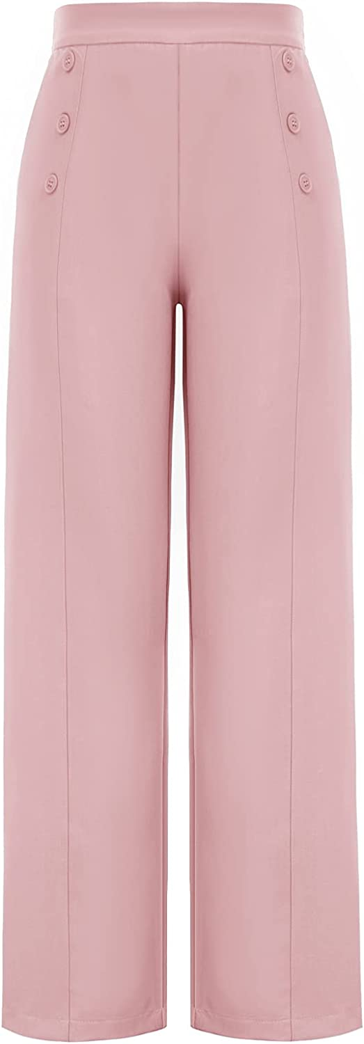 Belle Poque Women's High Waisted Wide Leg Pants Button Decorated Casual Stretchy Trousers with Pockets