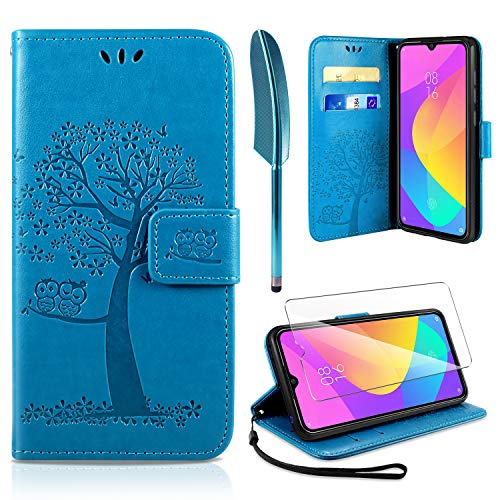 AROYI Xiaomi Mi 9 Lite Hülle, Handyhülle Xiaomi Mi 9 Lite Hülle Tasche Leder Flip Eule Baum Wallet Schutzhülle für Xiaomi Mi 9 Lite Blau