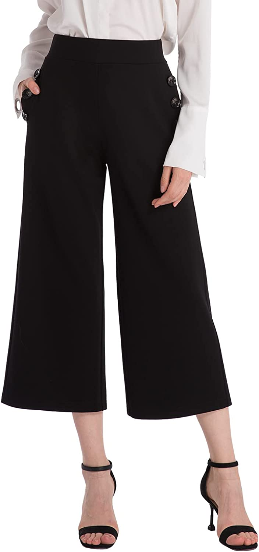 Ginasy Black Wide Leg Pants for Women Business Casual Dress Pants Stretch High Waist Crop Capris Culotte