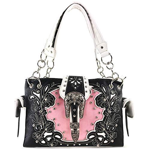 Zelris Western Floral Blossom Buckle Women Conceal Carry Shoulder Handbag (Black Pink)