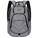 Laptop Backpack 18.4 Inch,SOCKO Nylon Water-Resistant Durable Travel Bag Hiking Knapsack Rucksack Backpack College Shoulder Back Pack for 18-18.4 Inches Laptop Notebook Computer,Grey