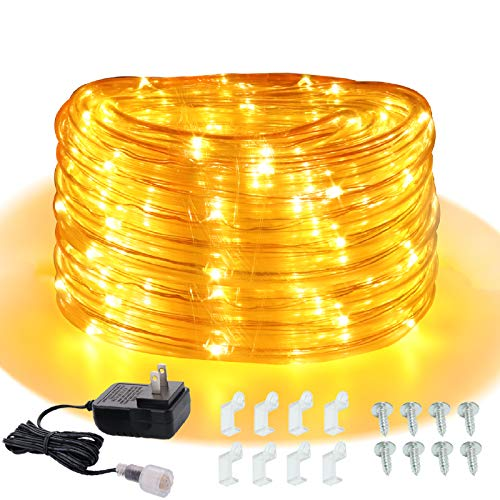 Areful 16ft Rope Lights Outdoor, 12v Mini Low Voltage Copper Lighting, Plug in Tube Lights with Adaptor, Amber Grow, Connectable and Waterproof for Camping RV Garden Bedroom Kitchen Christmas