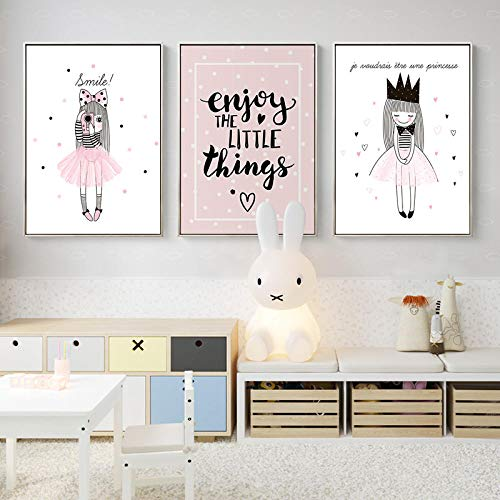Pink Girls Canvas Painting Prints And Poster Soggiorno Camera da Letto Queen Alphabet Camera dei Bambini Wall Art Pictures Home Decor-40x60cmx3 Pezzi Senza Cornice