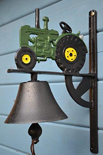 Maiso Türglocke mit Klöppel- sehr stabile schwere Türglocke Traktor aus Gusseisen- mit schönem Klang-für Haus und Garten