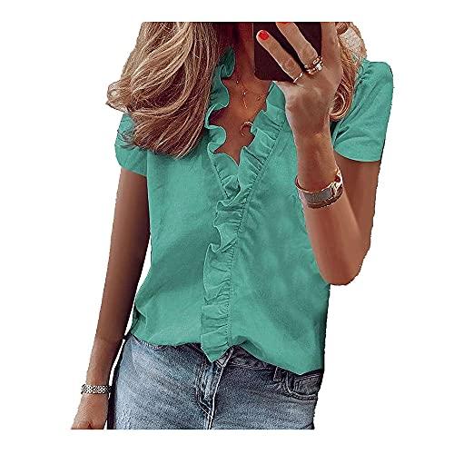 Korte Mouw Shirts Dames Tops Zomer Blouse Kantoor Kleding Ruffle V-hals Effen Vrouwelijke - groen - XL