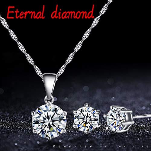 HUIHUI Kette Damen, Halskette Anhänger Damen elegant Strass Perlenkette Halskette Pendant Halskette Kette amulett zum öffnen mit Kette Halskette + Ohrringe (Valentinstag, Diamant)