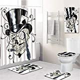 ZYHA 5 Teiliges Duschvorhang Set Totenkopf Badezimmer Matte Set Anti-Rutsch-WC-Vorleger + Deckel WC-Abdeckung + Badematte + PVC-Badezimmermatte+180 * 180CM Duschvorhang mit 12 Haken