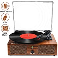 Udreamer Vinyl Record Player with Built-in Speakers and USB Belt-Driven