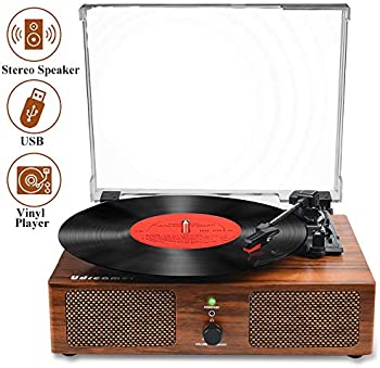 Udreamer Vinyl Record Player with Built-in Speakers