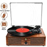 Udreamer Vinyl Record Player Bluetooth Turntable with Built-in Speakers and USB Belt-Driven Vintage...