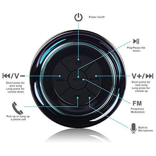 TOP iF012 Bluetooth Shower Speaker - Certified Waterproof. 2017 Model Pairs Easily with All Your Bluetooth Devices - iPhone, iPad, iPod, Android, PC, Radio