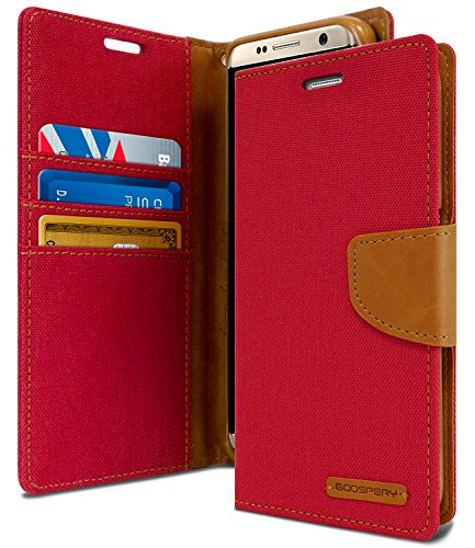 Goospery Schutzhülle für Samsung Galaxy S8 Plus (2017), Denim-Ständer, Flip-Cover (rot) S8P-CAN-RED