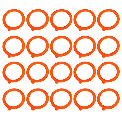 20 Pieces Replacement Silicone Seals, Leakproof Silicone Jar Sealing Gaskets Rings for Regular Glass Jars Gasket Sealing Rings Replacement Rubber Jar Seals Ring,Orange